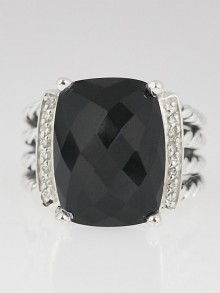 David Yurman 16x12mm Black Onyx and Diamond Wheaton Ring Size 6.5