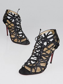 Christian Louboutin Black Kid Leather Laurence Anyway 100 Caged Booties Size 6/36.5