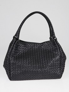 Bottega Veneta Black Intrecciato Woven Nappa Leather Parachute Bag