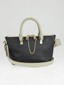 Chloe Black/Grey Calfskin Leather Mini Baylee Bag