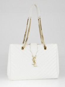 Yves Saint Laurent White Chevron Quilted Leather Monogram Tote Bag