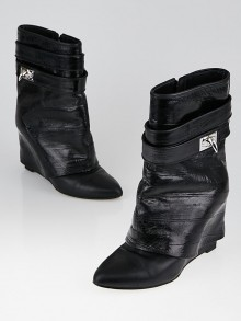 Givenchy Black Eel/Leather Shark-Lock Fold-Over Booties Size 6.5/37