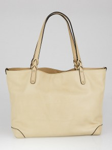 Gucci Beige Lambskin Leather Craft Tote Bag w/ Pochette