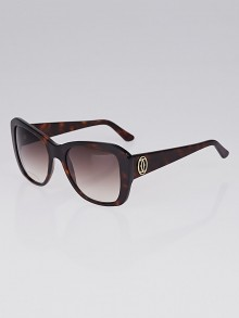 Cartier Tortoise Shell Acetate Gradient Tint Double C Décor Sunglasses - 140