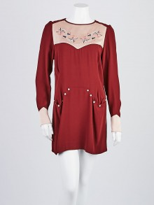 Isabel Marant Red Viscose Blend Embroidered Dress Size 8/40
