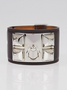 Hermes Chocolate Swift Leather Palladium Collier de Chien Bracelet Size S