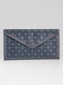 Alaïa Blue Laser Cut Leather Envelope Clutch Bag