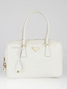 Prada White Saffiano Lux Leather Top Handle Satchel Bag