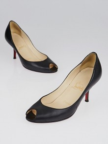 Christian Louboutin Black Nappa Leather Materna Peep-Toe 70 Pumps Size 4.5/35