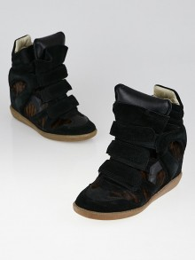 Isabel Marant Black Suede and Tiger Striped Pony Hair Bekett Over Basket Sneaker Wedges Size 5.5/36