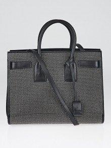 Yves Saint Laurent Black Studded Leather Classic Small Sac de Jour Tote Bag