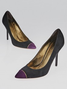 Yves Saint Laurent Black and Magenta Suede Cap Toe Opyum 80 Pumps Size 9/39.5
