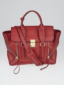 3.1 Phillip Lim Crimson Shark Embossed Leather Pashli Medium Satchel Bag