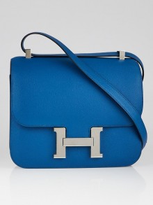 Hermes 24cm Blue Izmir Epsom Leather Palladium Plated Constance Bag