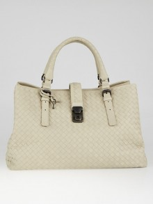 Bottega Veneta Beige Intrecciato Woven Nappa Leather Roma Tote Bag