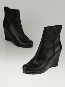 Prada Black Leather Wedge Ankle Boots Size 9/39.5