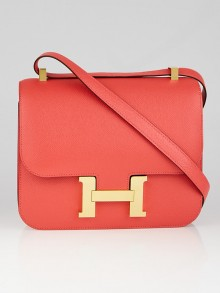 Hermes 24cm Rose Jaipur Epsom Leather Gold Plated Constance Bag