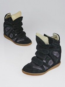 Isabel Marant Black Suede and Leather Bekett Over Basket Sneaker Wedges Size 6.5/37