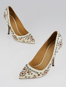 Isabel Marant White Leather Studded Pumps Size 5.5/36