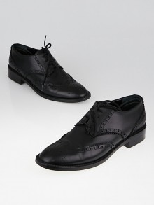 Yves Saint Laurent Black Leather Brogue Oxfords Size 7.5/38