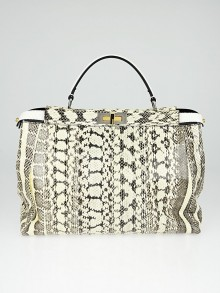 Fendi Brown/Ivory Watersnake Large Peekaboo Satchel Bag
