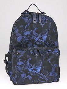 Valentino Blue Nylon Butterfly Print Backpack Bag