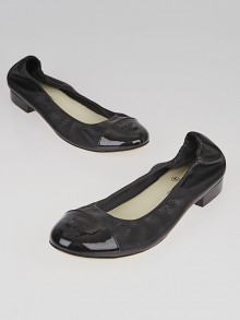 Chanel Black Leather and Patent Leather Elastic Ballet Flats Size 9.5/40