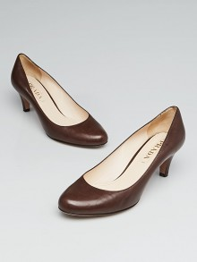 Prada Brown Leather Low-Heel Pumps Size 5/35.5