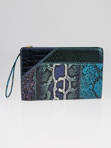 Stella McCartney Blue Loretta 'Waverly' Exotic Skins Patchwork Clutch Bag