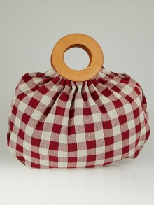 Mansur Gavriel Flamma/White Checkered Canvas Market Bag