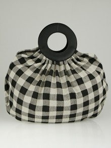 Mansur Gavriel Black/White Checkered Canvas Market Bag