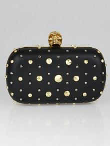 Alexander McQueen Black Leather Studded Skull Box Clutch Bag