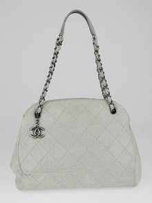 Chanel Grey Iridescent Quilted Leather Just Mademoiselle Large Tote Bag