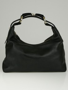 Gucci Black Leather Horsebit Chain Medium Hobo Bag