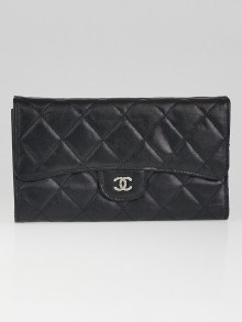 Chanel Black Quilted Leather L Flap Wallet