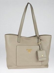Prada Pomice Vitello Daino Leather Shopping Tote Bag 1BG048