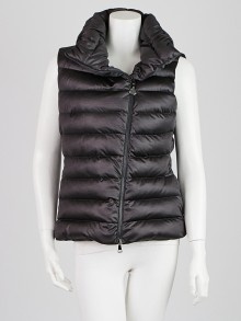 Moncler Charcoal Polyester Down Vest Jacket Size 4