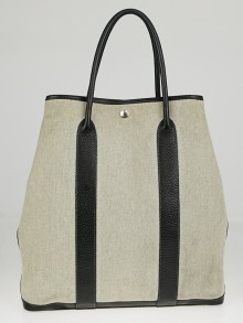 Hermes Natural Linen/Black Buffalo Leather Vertical Garden Party Tote Bag