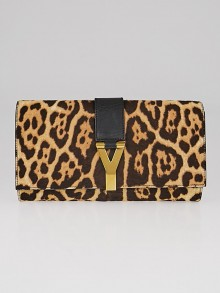 Yves Saint Laurent Brown Leopard Print Pony Hair Y Clutch Bag