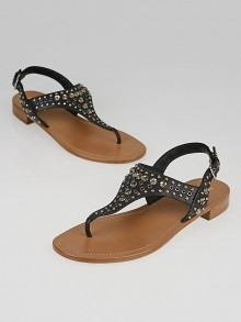 Prada Black Leather and Crystal Studded T-Strap Sandals Size 8.5/39
