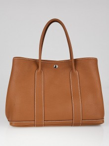 Hermes Gold Negonda Leather Garden Party MM Tote Bag