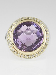 David Yurman 14mm 18k Gold Amethyst and Diamond Albion Ring Size 6