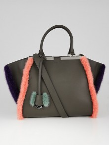 Fendi Grey Leather and Mink Fur 3Jours Tote Bag 8BH279