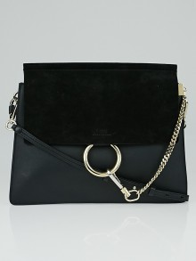 Chloe Black Leather and Suede Faye Bag