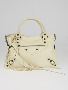 Balenciaga Blanc Creme Lambskin Leather Motorcycle Town Bag