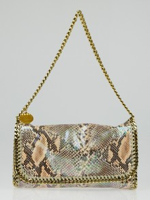 Stella McCartney Nude Faux Python Falabella Flap Shoulder Bag
