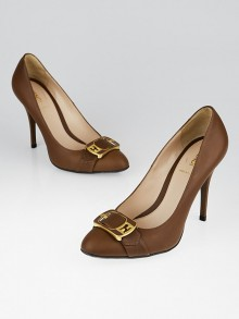 Fendi Brown Leather Buckle Pumps Size 9/39.5