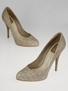 Christian Dior Taupe Croc Embossed Leather Miss Dior Pumps Size 9.5/40