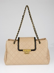 Chanel Beige/Black Quilted Leather East/West Accordion Flap Bag