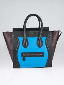 Celine Turquoise Smooth Calfskin Leather Tricolor Mini Luggage Tote Bag